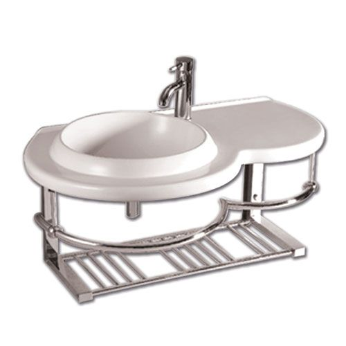 Isabella White Large Wall Mount Basin w/Integrated Round Bowl, Single Faucet Hole  If this weren't so expensive