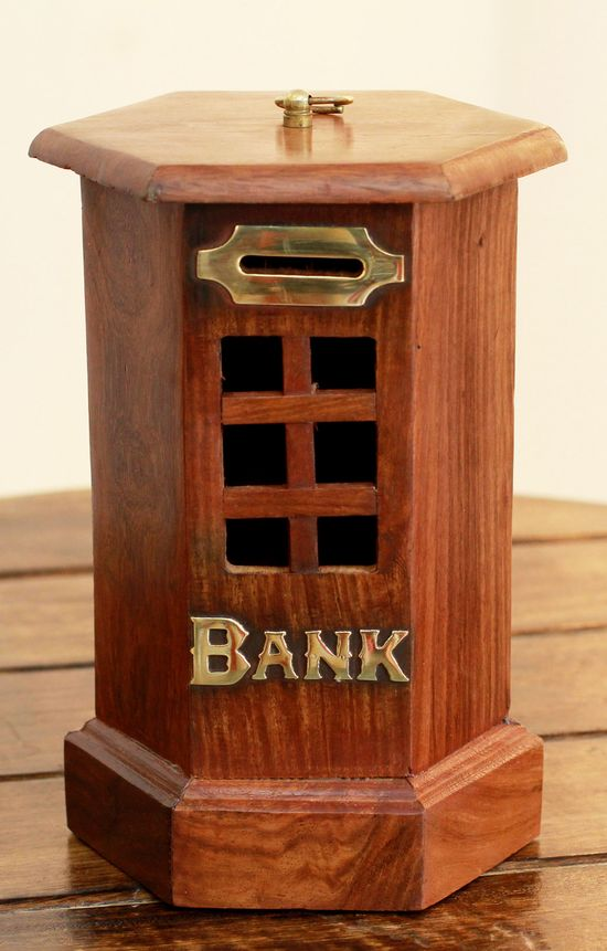 'Bank Teller,' Vintage Style Wood #Bank with Brass Inlay.