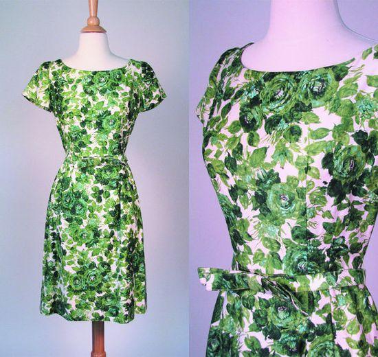 vintage 1960s dress / 60s dress / wonderful green floral print