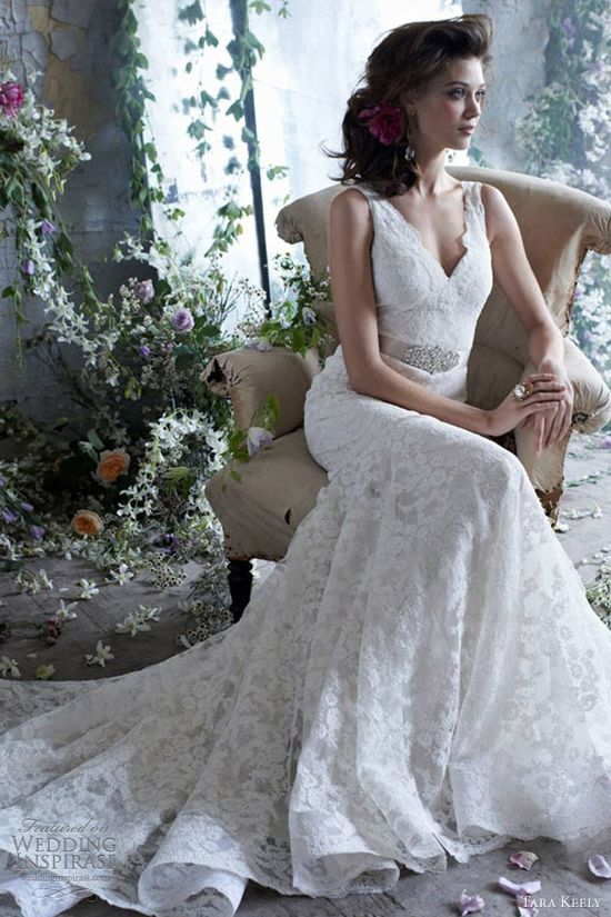 tara keely wedding dresses spring 2013 bridal lace fit flare gown v neckline beaded ribbon belt