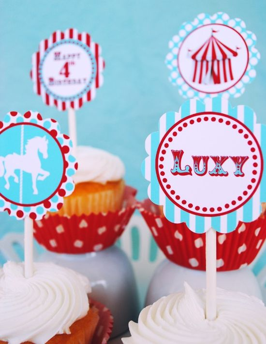 Carnival Circus Cupcake Toppers Party Circles and More - As Seen On AMY ATLAS - Aqua and Red Collection - Gwynn Wasson Designs PRINTABLES. $9.00, via Etsy.