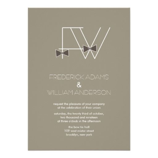 Grooms Bow Ties Monogram Mister Gay Wedding Invitation by fatfatin