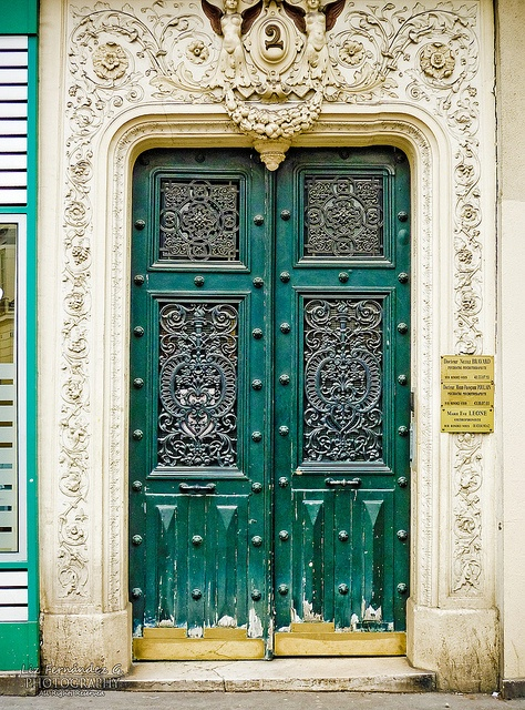 detailed green door