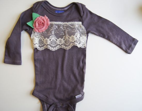 Baby Girl Outfit // Baby Girl Clothes // Hand Dyed Gray with Lace and Floral Detailing // Lady Madeline