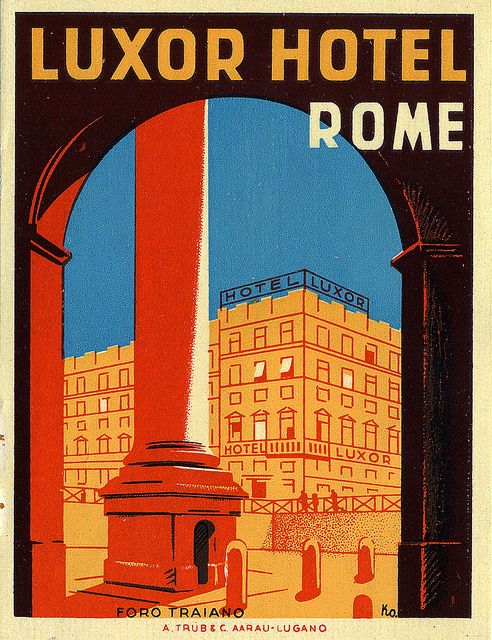 Luxor Hotel Rome Luggage Label
