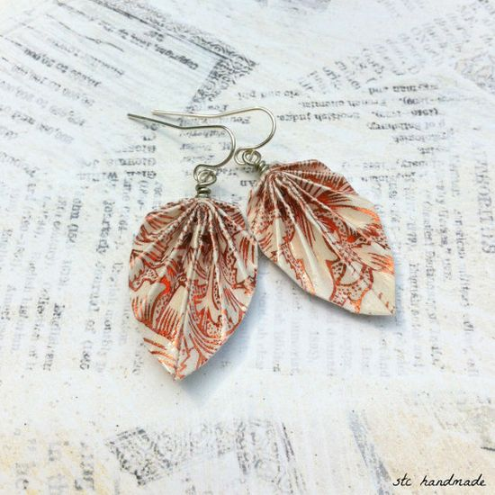 Ivory and Shiny Copper Pattern Origami Leaf Earrings. MEMBER - STCHandmade