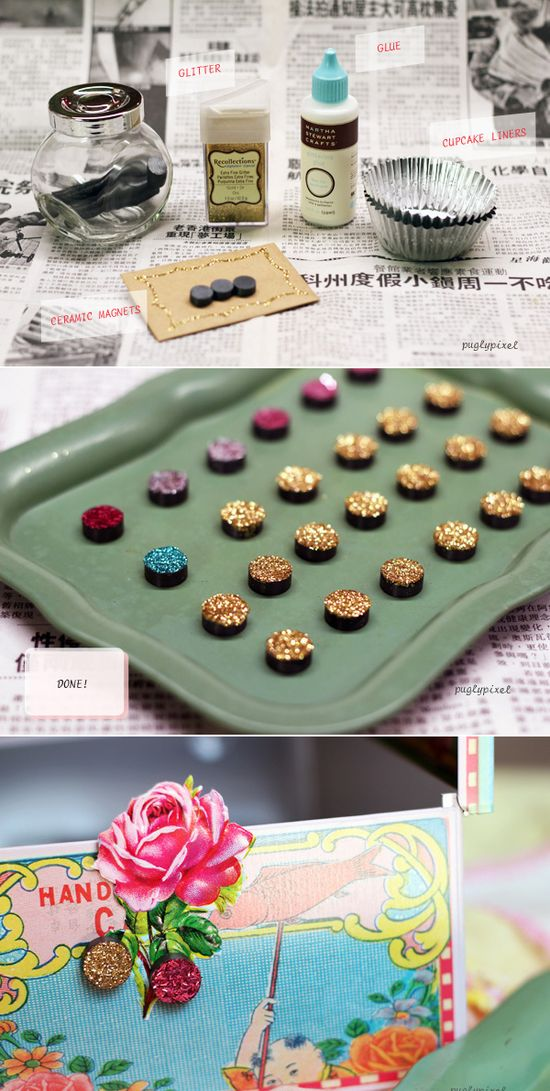 Make the cutest little glitter magnets ever.