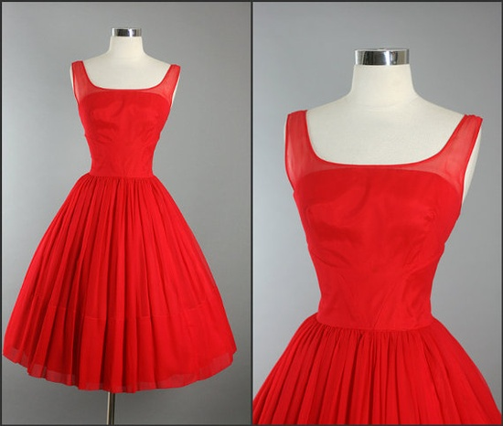 1950s Vintage Elegant  Movie Star RED CHIFFON by RedHouseVintages, $260.00 #vintage