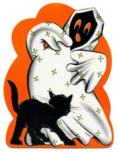 Vintage Halloween ghost and black cat