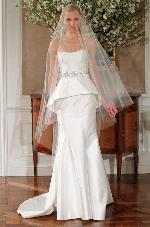 Romona Keveza Legends wedding dress with peplum, Spring 2013