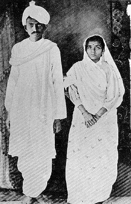 "Man and Wife : Mahatma Gandhi and Kasturba  Picture taken in 1915 upon Gandhi's return to India   ""We were both thirteen. ... the wedding meant no more than wearing new clothes, eating sweets  and playing with relatives""  -- Gandhi recalling the day of his wedding."