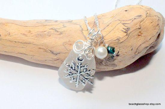 Sea Glass Christmas Beach Glass Necklace