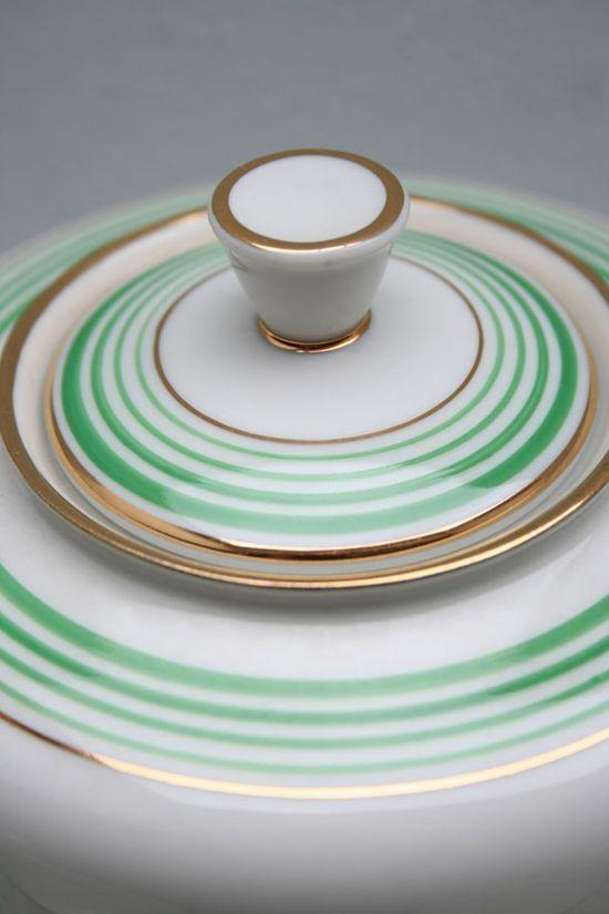 juego cafe porcelana alemana vintage blanco dorado y rayas verdes