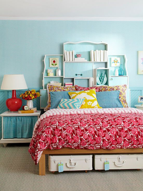 Create a custom headboard using the drawers of an old dresser! Get storage solutions for small bedrooms: www.bhg.com/...