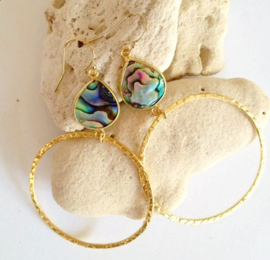 abalone earrings hoop earrings gold hoop earrings shell by AinaKai
