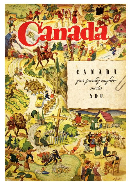 Your friendly neighbour Canada invites you... #vintage #1930s #Canada #travel