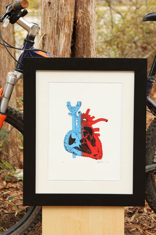 Anatomical Bike Heart Screen print Anatomy Art by RunnerduckPrints, $20.00