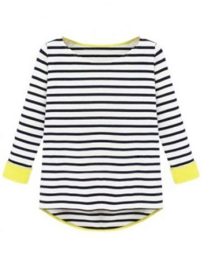 Black Long Sleeve Striped Dipped Hem T-Shirt pictures