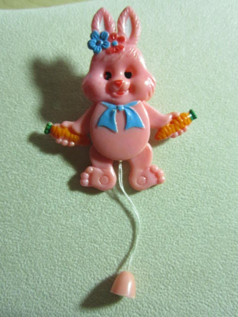 Vintage Celluloid Plastic Miniature Pin Pull Toy Rabbit with Carrots Pink Articulated.