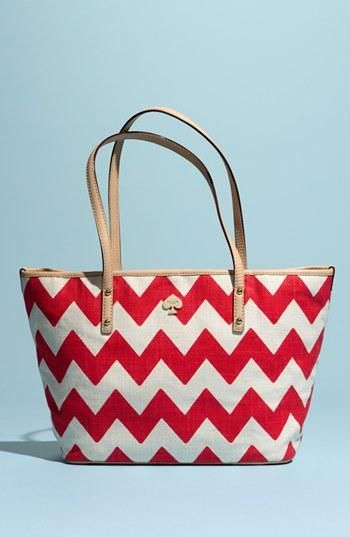 Chevron kate spade new york tote handbag.