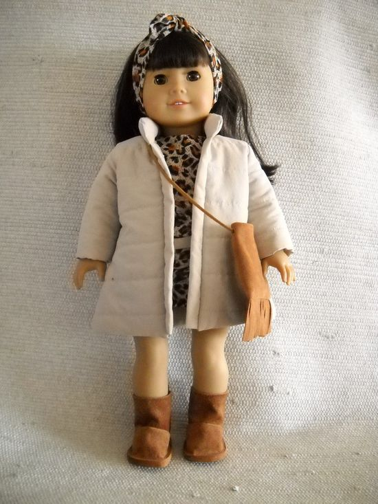 American Girl Doll Clothes - 6 pieces outfit with puffer jacket and leopard mini dress. $35.00, via Etsy.