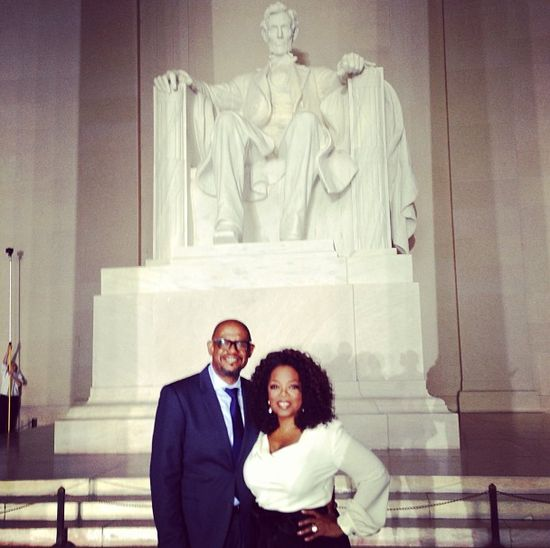 """""""Celebrating MLK 50th anniversary march at Lincoln memorial. #letFreedomring"""""""