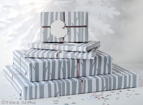 Gifts wrapped in 'Woods' Gift Wrap by Torie Jayne