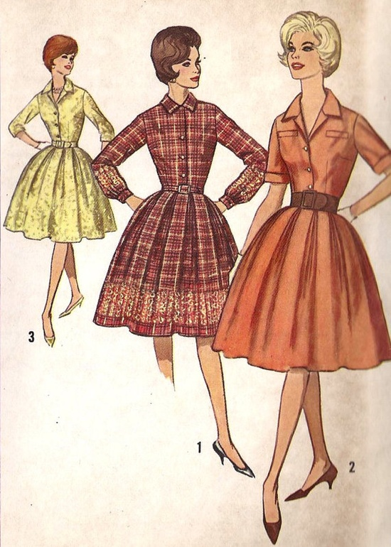 1960s Misses' Shirtwaist Dress with Flared Skirt