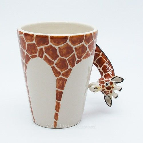 Giraffee Safari Animals Mug Ceramic Handmade Crafts Home Dcoration