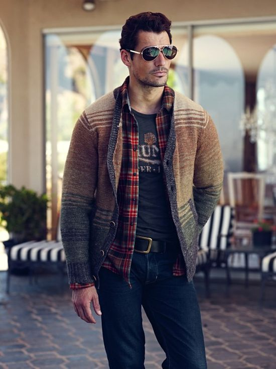 David Gandy in Lucky Brand. Layering of sweater, flannel shirt, t-shirt.