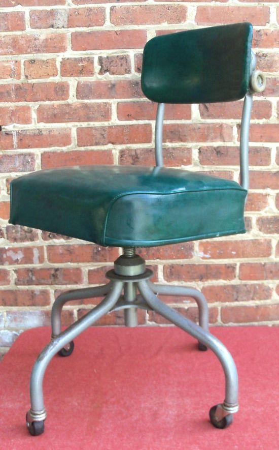 Vintage Industrial Office Chair Swivel STEELCASE Mid Century Machine Age.