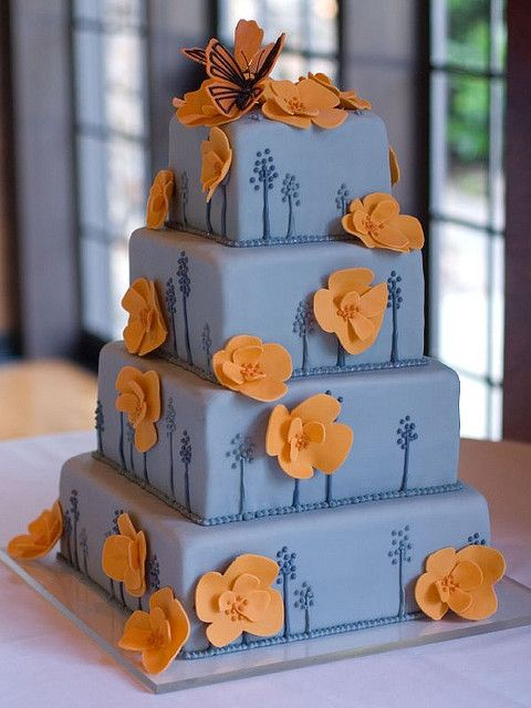 Butterfly and Poppy Wedding Cake