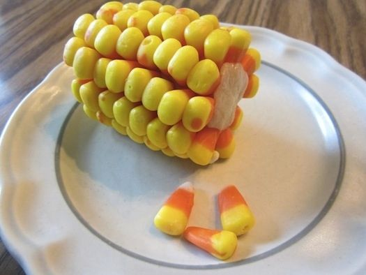 Candy corn disguised as corn on the cob.