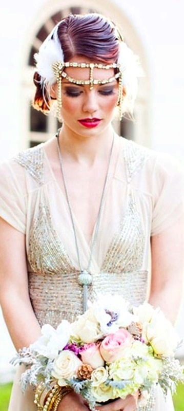 Bride's short slick back wedding hairstyle with 20's Gatsby flapper headpiece