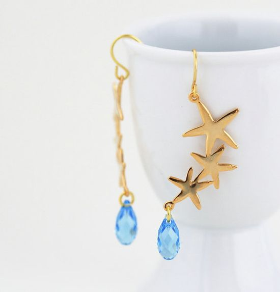 Free Shipping Gold and Blue Starfish Earrings by JacarandaDesigns