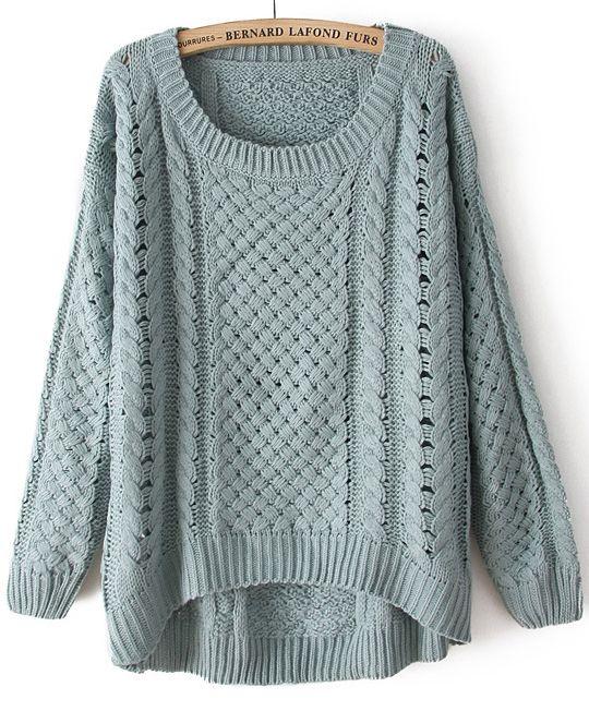 Green Round Neck Long Sleeve Hollow Asymmetric Sweater