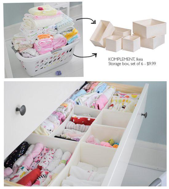 Organizing baby drawers.  Love.