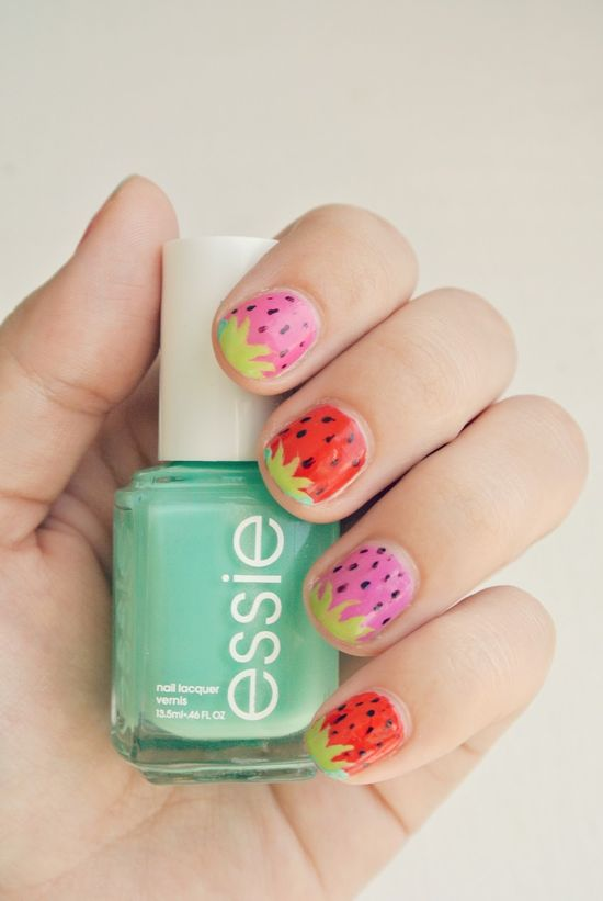 prettysquared.blo... #essie nails nail art strawberry cute manicure @Essie Martin