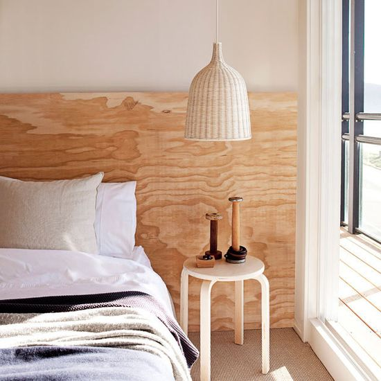 plywood panel headboard.