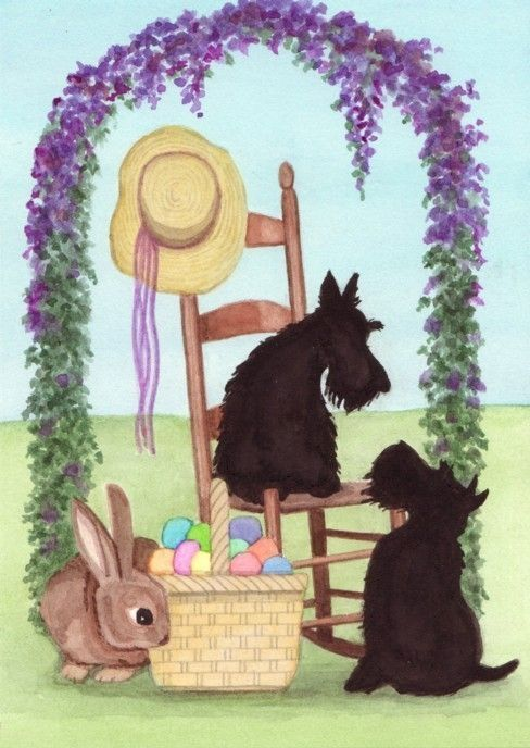 Scotties scottish terriers at Easter / Lynch by watercolorqueen, $12.99