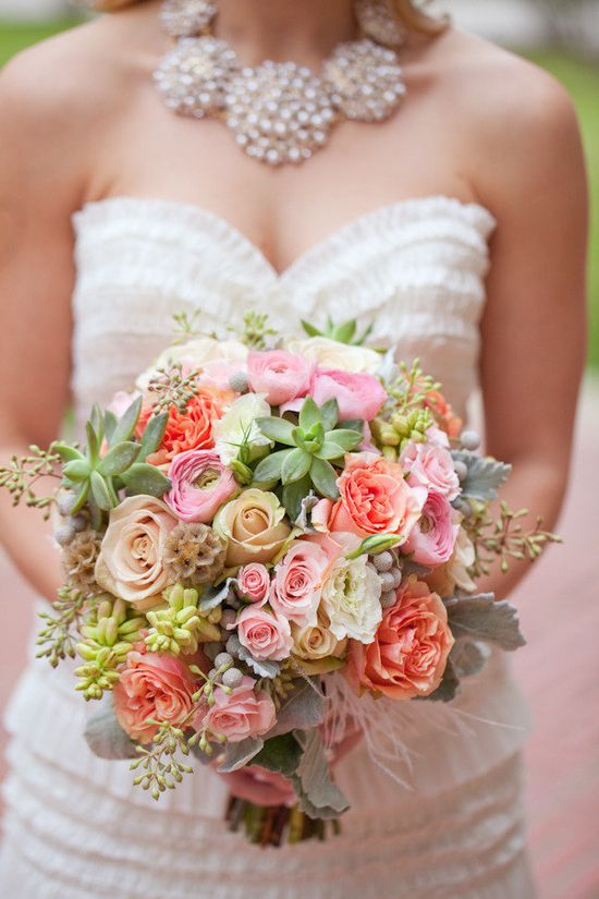 fun colors popping from this bouquet and a peek of that gorgeous  necklace by www.dillards.com/...  Photography by halforangephotogr..., Wedding Planning and Floral Design by astinmansion.com