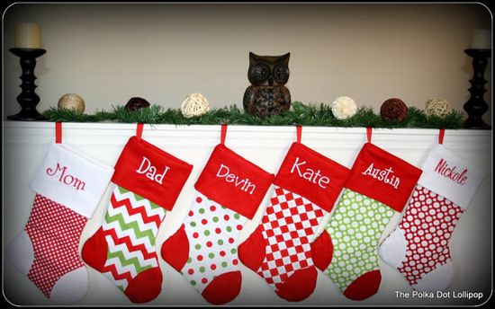 Personalized Embroidered Christmas stockings 15 new fabric choices font option holiday family pet boy girl santa on Etsy, $28.00