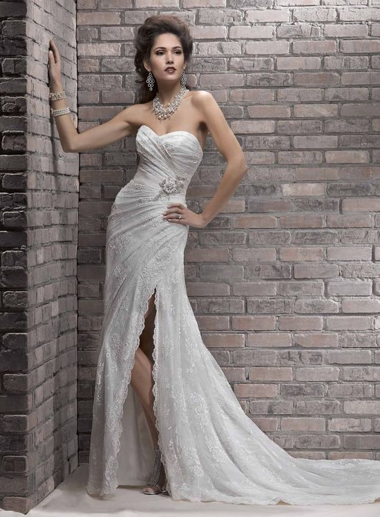 wedding dress wedding dresses 2013, lace, slit