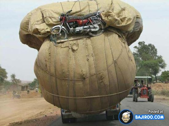 Funny Overloaded Truck And Motorcycle [Funny Photo] — Bajiroo.com