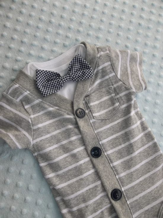 """I want to get this for Bentley for his """"coming home"""" outfit. So adorable! Cardigan Onesie  Gingham  Bowtie Onesie plus by groovyapplique, $36.00"""