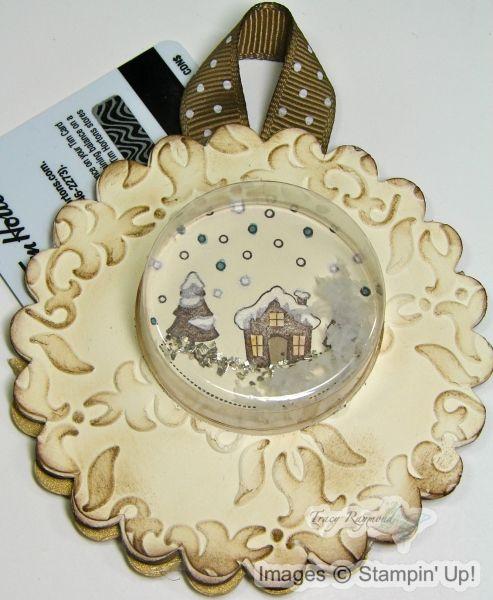 scalloped snow globe gift card holder