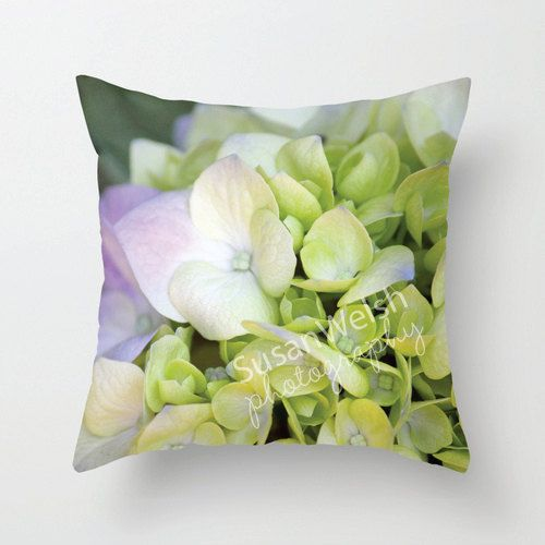 Floral Hydrangea Throw Pillow, Purple Fine Art Photography, Home Decor Interior Decorating