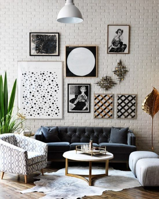 photo wall with vintage and modern print mix
