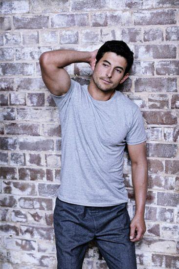 Grey tee shirt and wool pants, mens fashion photography in the studio. Photo - Kent Johnson.