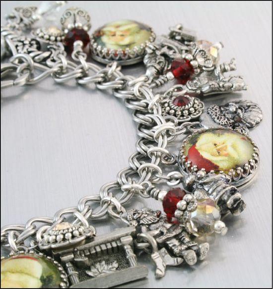 Christmas Jewelry Silver Charm Bracelet Santa by BlackberryDesigns, $123.00